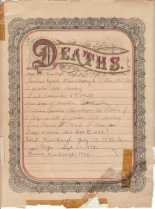 Kimbrough Bible - Deaths Page