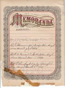 Kimbrough Bible - Memoranda Page