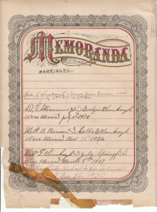 Kimbrough Bible - Memoranda Page