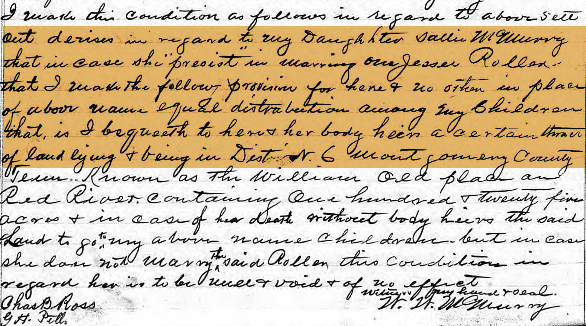 McMurry WW Last will and Testament 1890 crop