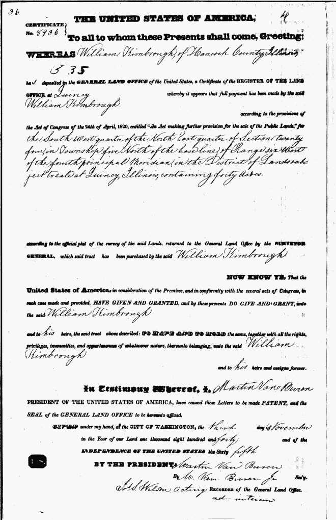Kimbrough Wm Brother Land record 1840